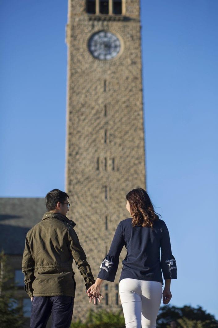 Cornell engagement Mcgraw tower